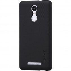 """Nillkin"" Frosted Shield apvalks - melns + ekrāna aizsargplēve (Redmi Note 3 / Redmi Note 3 Pro)"
