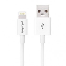 """YellowKnife"" Lightning USB vads - balts (1 m.)"