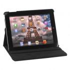Apple iPad 2, 3, 4 atvēramais melns ādas futrālis, grozās 360° grādu apjomā