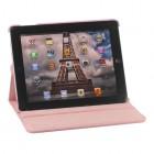 Apple iPad 2, 3, 4 atvēramais rozs ādas futrālis, grozās 360° grādu apjomā
