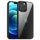 "Apple iPhone 13 Pro Max elegants ""IPAKY"" Royal dzidrs (caurspīdīgs) silikona apvalks (apmales melnā krāsā)"