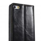"""Apple iPhone 5 / 5s """"CaseMe"""" solīds atvēramais ādas melns maciņš - maks"""