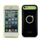 "Melns tumsā spīdošs ""i-Glow"" silikona, plastmasas Apple iPhone 5, 5S apvalks"