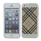 "Apple iPhone 5, Apple iPhone 5S ""Burberry"" stils gaiši brūns / balts apvalks"