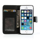 Apple iPhone 5 / 5S atvēramais melns ādas Lychee futrālis - maciņš