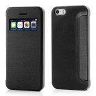 """Atvēramais """"S-View"""" stila melns Apple iPhone 5, Apple iPhone 5S futrālis (maciņš)"""