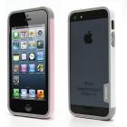 """Rozā, pelēkā un baltā krāsās """"Walnutt"""" Trio cieta silikona Apple iPhone 5, 5S futrālis - rāmis (bamperis - sānu apmale)"""