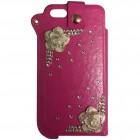 Apple iPhone SE (5, 5s) Fashion Leather rozā krāsā ieliktņa ādas