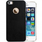 """Lenuo"" Leyun Leather Apple iPhone SE (5, 5s) melns ādas apvalks"