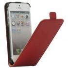 Apple iPhone 5S klasisks vertikāli atvēramais ādas sarkans maciņš
