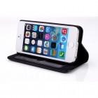 Apple iPhone 5S solīds atvēramais ādas melns maciņš