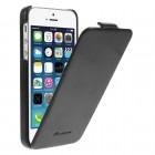 Apple iPhone 5s vertikāli atvērams ādas melns klasisks maciņš