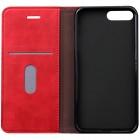 "Apple iPhone 7 Plus (iPhone 8 Plus) ""Deluxe"" ādas atvēramais sarkans maciņš (maks)"