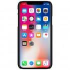 Apple iPhone X (iPhone Xs) Nillkin Frosted Shield melns plastmasas apvalks + ekrāna aizsargplēve