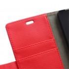 Asus Zenfone 2 5.0 (ZE500CL) atvēramais sarkans ādas Litchi maciņš - maks