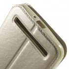 Asus Zenfone 2 Laser 6.0 (ZE600KL, ZE601KL) Roar Noble ādas atvēramais zelta maciņš