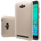 Asus Zenfone Max (ZC550KL) Nillkin Frosted Shield zelta plastmasas apvalks + ekrāna aizsargplēve