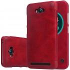 """Greznais """"Nillkin"""" Qin sērijas ādas atvērams sarkans Asus Zenfone Max (ZC550KL) maciņš"""