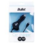 """""""Bullet"""" melns autolādētājs ar micro USB vadu (1 A)"""