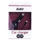 """""""Bullet"""" melns autolādētājs ar micro USB vadu (2 A)"""