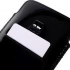 Universāla Glossy melna ādas telefona ieliktņa (XL+ izmērs)