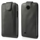 HTC Desire 300 klasisks ādas vertikāli atvēramais melns futrālis