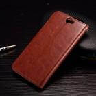 HTC One A9 atvēramais ādas brūns maciņš (maks)
