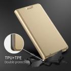 HTC U12 Plus Solīds zelta ādas atvērams maciņš