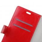 HTC U12 Plus atvēramais ādas sarkans maciņš (maks)
