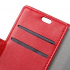 Huawei Honor 7C atvēramais ādas sarkans maciņš (maks)