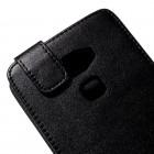 Huawei Mate S klasisks ādas vertikāli atvēramais melns maciņš