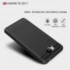 """Huawei Y5 2017 (Y5 III) / Y6 2017 """"Carbon"""" cieta silikona (TPU) melns apvalks"""