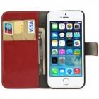 Apple iPhone 5 / 5S atvēramais sarkans ādas Lychee futrālis - maciņš