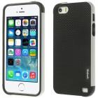 """Apple iPhone 5 (5s, SE) """"Walnutt"""" cieta silikona melns apvalks apmales baltā krāsā"""
