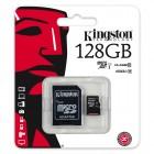 """Kingston"" MicroSD atmiņas karte 128 Gb, 10 klase ar SD adapteri"