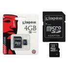"""Kingston"" MicroSD atmiņas karte 4 Gb, 10 klase ar SD adapteri"