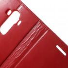 Mercury Blue Moon LG G4 (H815) atvērams sarkans ādas maciņš - maks