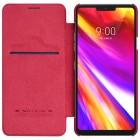 """Greznais """"Nillkin"""" Qin sērijas ādas atvērams sarkans LG G7 ThinQ maciņš"""