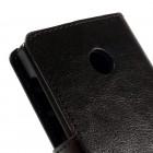 Microsoft Lumia 435 atvēramais melns ādas maciņš