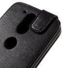 Motorola Moto G4, Moto G4 Plus klasisks ādas vertikāli atvēramais melns maciņš