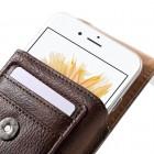 Apple iPhone 6 Plus Universāls aizverams brūns maciņš, ar kabatiņu kartem ielikt un iespēju piestiprināt pie siksnas (XL+ izmērs)