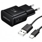 "Origināls ""Samsung"" Fast Charge melns tīkla lādētājs (2A) ar USB Type-C vadu EP-TA20EBE"
