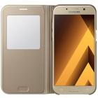 Samsung Galaxy A5 (2017) A520 oficiāls S View Cover atvērams zelta ādas maciņš