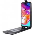 Samsung Galaxy A70 (A705F) klasisks ādas vertikāli atvēramais melns maciņš