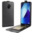 Samsung Galaxy A8+ 2018 (A730F) klasisks ādas vertikāli atvēramais melns futrālis