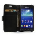 Samsung Galaxy Ace 3 (S7270) atvēramais ādas melns maciņš (maks)