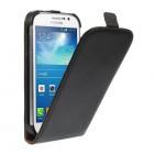 Samsung Galaxy Grand (Neo / Lite) klasisks ādas vertikāli atvēramais melns futrālis