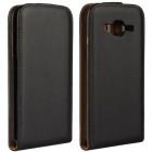 Samsung Galaxy J2 (J200) klasisks ādas vertikāli atvēramais melns maciņš