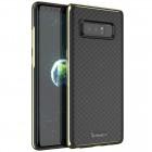 "Samsung Galaxy Note 8 (N950F) ""IPAKY"" cieta silikona (TPU) melns apvalks (apmales - zeltā krāsā)"