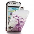 Samsung Galaxy S Duos 2 S7582, S Duos S7562, Trend S7560, Trend Plus S7580 vertikāli atvēramais puķains balts maciņš